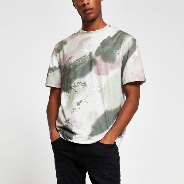 River Island Mens Grey camo print t-shirt