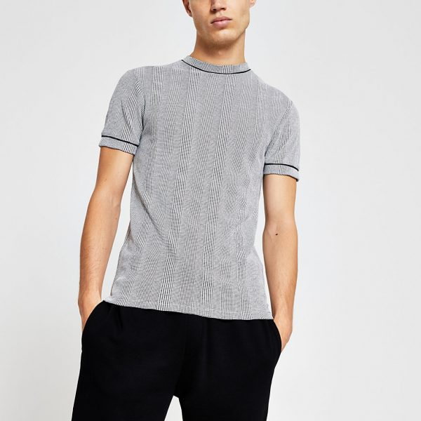River Island Mens Grey check print muscle fit T-shirt