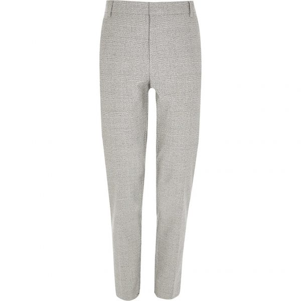 River Island Mens Grey check skinny fit trousers