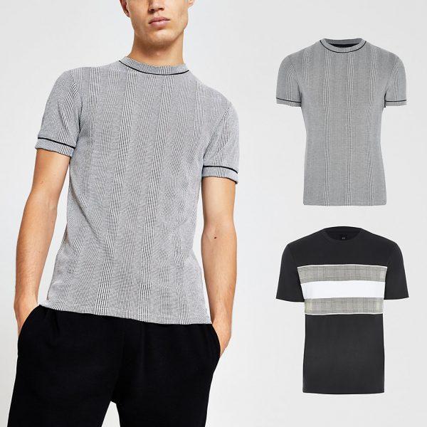 River Island Mens Grey check t-shirt 2 pack
