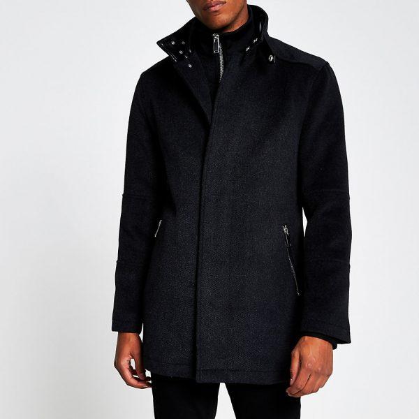 River Island Mens Grey funnel neck wool coat
