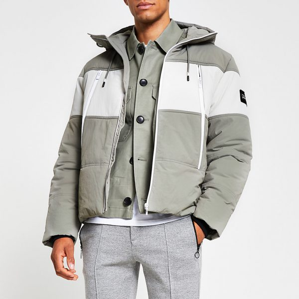 River Island Mens Grey hooded colour block puffer jacket