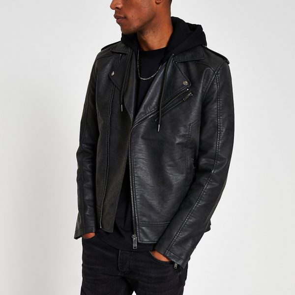 River Island Mens Grey hooded faux leather biker jacket