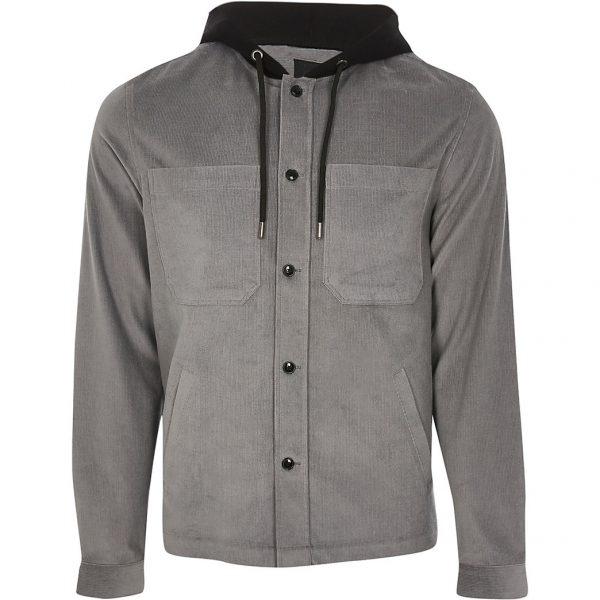 River Island Mens Grey hooded long sleeve shacket