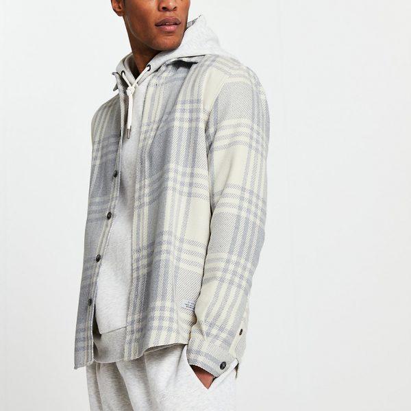 River Island Mens Grey long sleeve check Shirt