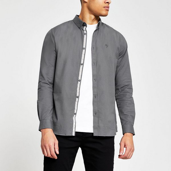 River Island Mens Grey long sleeve muscle fit oxford shirt