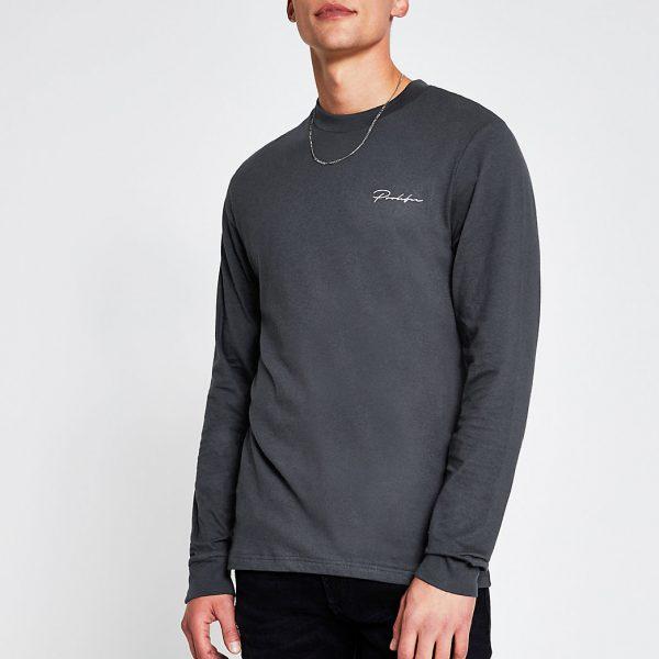River Island Mens Grey long sleeve prolific sweatshirt