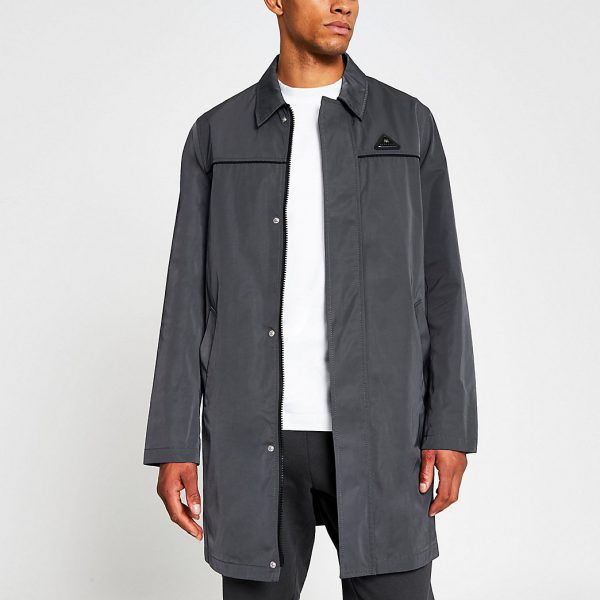 River Island Mens Grey nylon zip mac