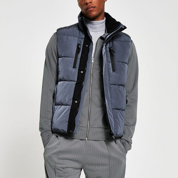 River Island Mens Grey padded double pocket puffer gilet