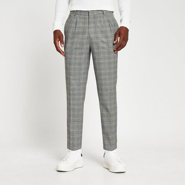 River Island Mens Grey pleated check print tapered trousers