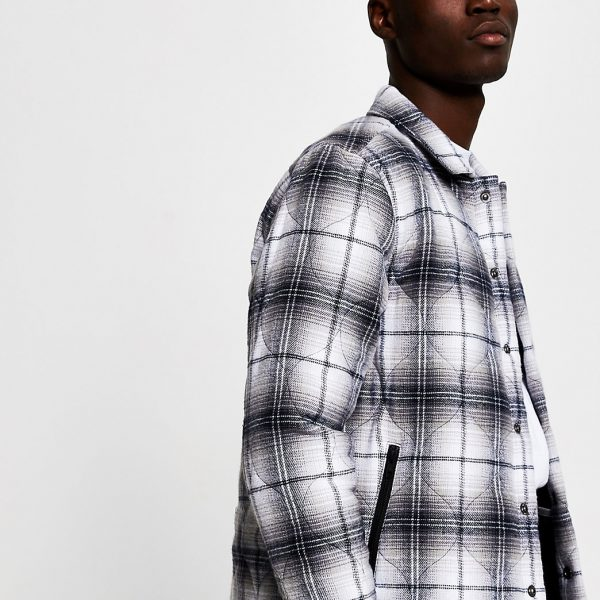 River Island Mens Grey quilted check shacket