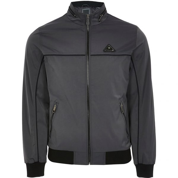 River Island Mens Grey racer jacket