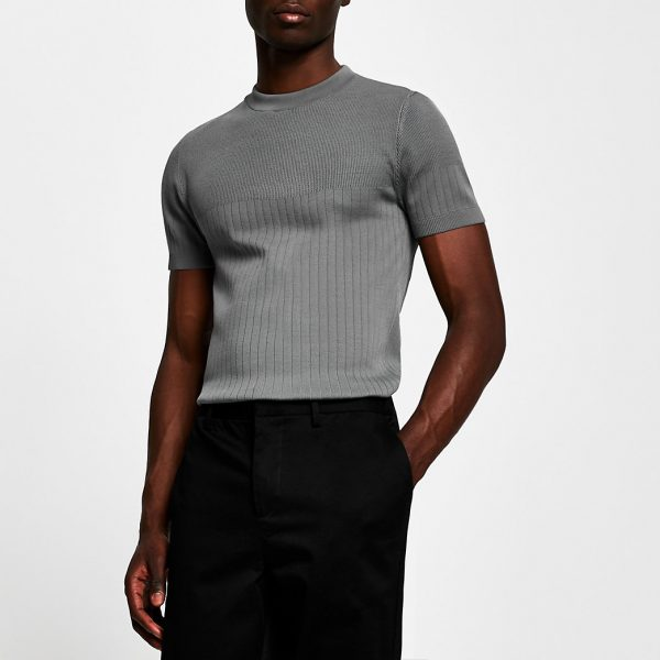 River Island Mens Grey ribbed knitted muscle fit t-shirt