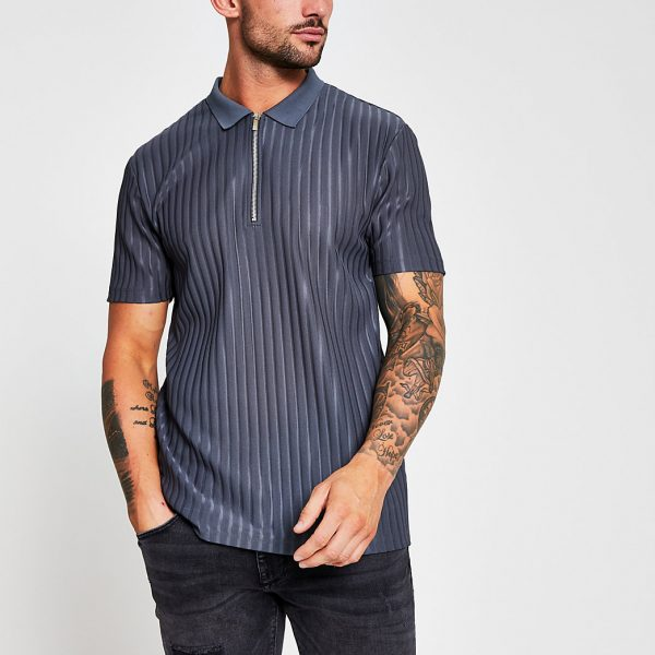 River Island Mens Grey ribbed zip neck slim fit polo shirt