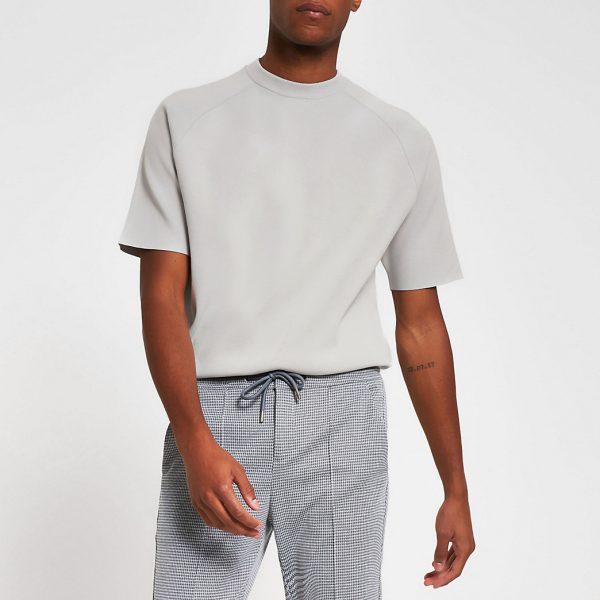 River Island Mens Grey short sleeve raglan oversized t-shirt