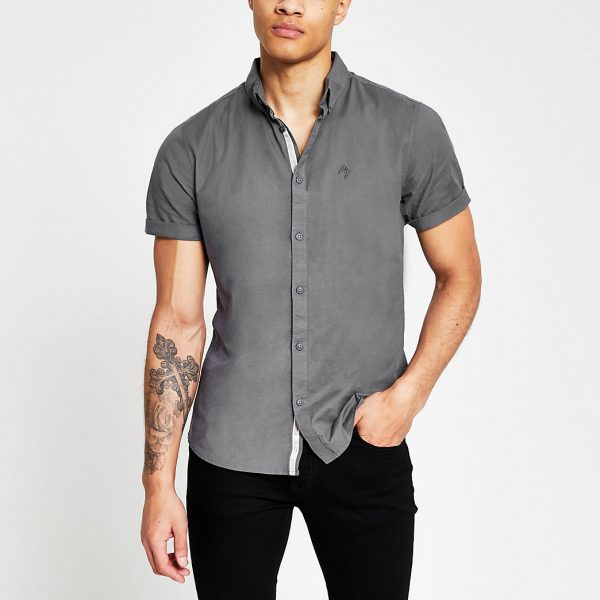 River Island Mens Grey short sleeve slim fit oxford shirt