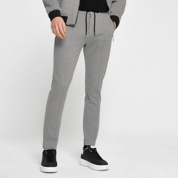 River Island Mens Grey skinny fit zip joggers
