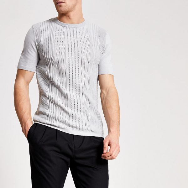 River Island Mens Grey slim fit pointelle knitted T-shirt