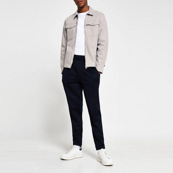River Island Mens Grey zip front long sleeve overshirt jacket