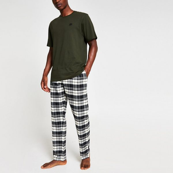 River Island Mens Khaki 'RR' check pyjama set