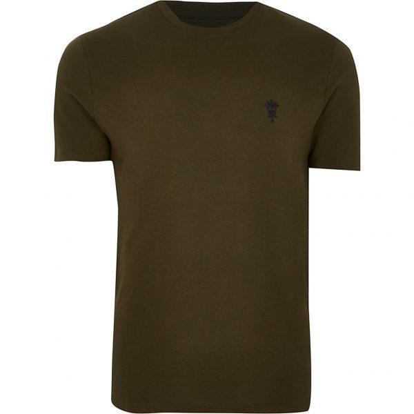 River Island Mens Khaki 'RR' palm trees logo slim fit t-shirt