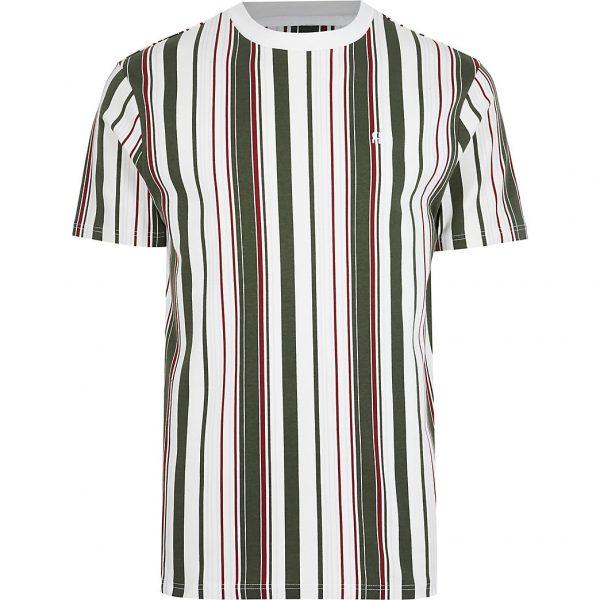 River Island Mens Khaki 'RR' stripe slim fit t-shirt