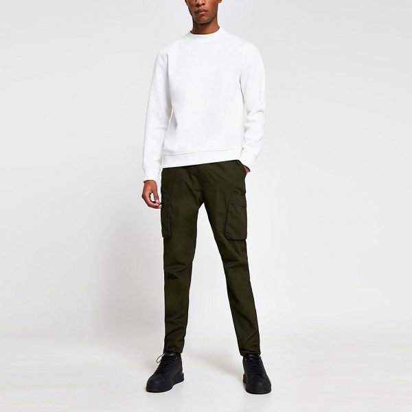 River Island Mens Khaki cargo utility slim fit trousers