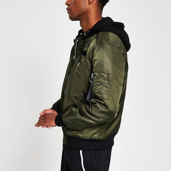 River Island Mens Khaki hooded MA1 bomber jacket