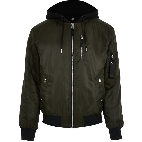 River Island Mens Khaki hooded bomber jacket