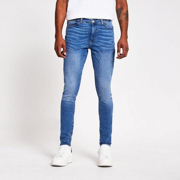 River Island Mens Light blue Ollie spray on skinny jeans