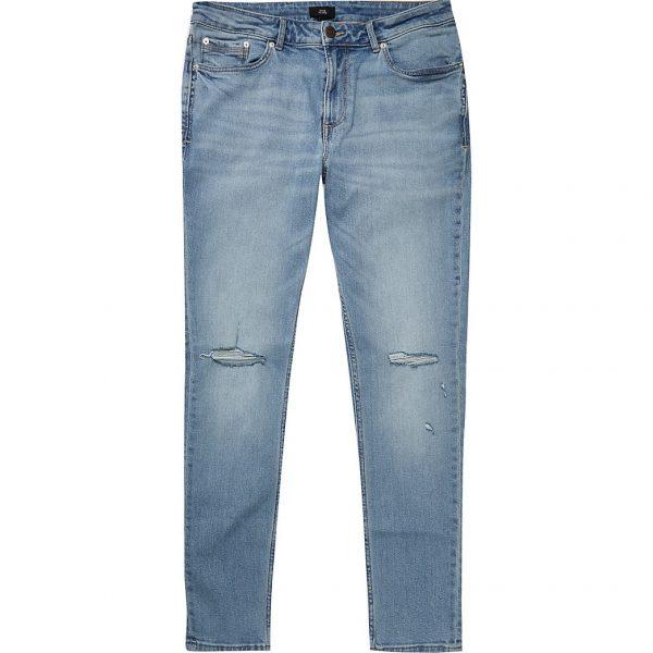 River Island Mens Light blue ripped Sid skinny jeans