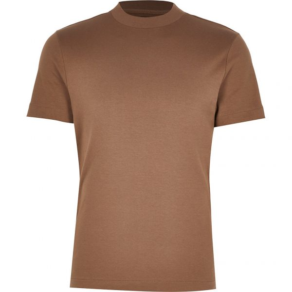 River Island Mens Light brown premium regular fit t-shirt