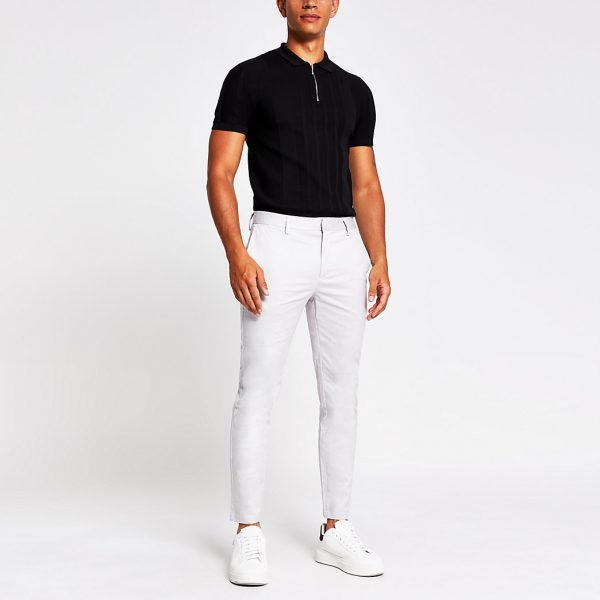 River Island Mens Light grey skinny chino trousers