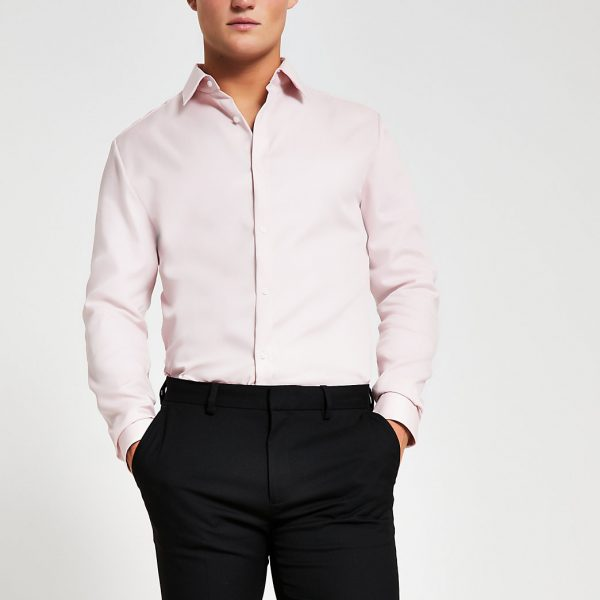 River Island Mens Light pink Egyptian cotton slim fit shirt