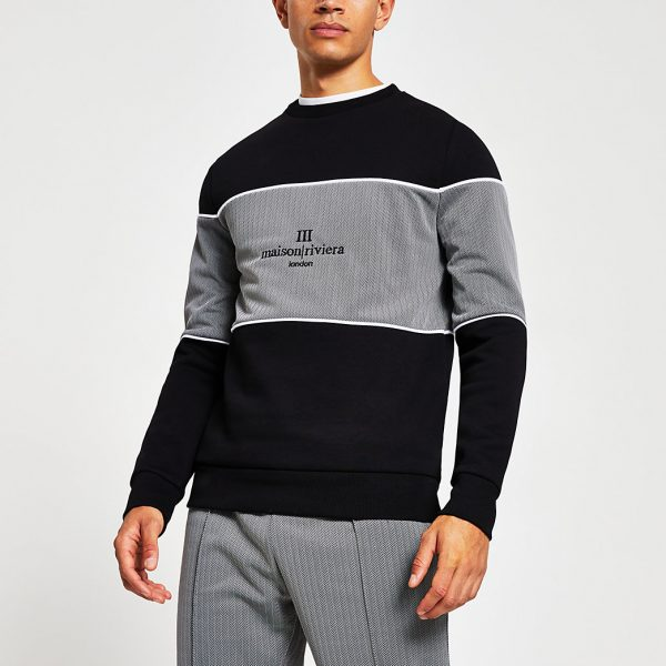 River Island Mens Maison Riviera black blocked slim sweatshirt