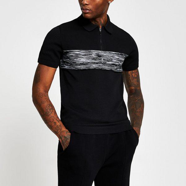 River Island Mens Maison Riviera black short sleeve polo shirt