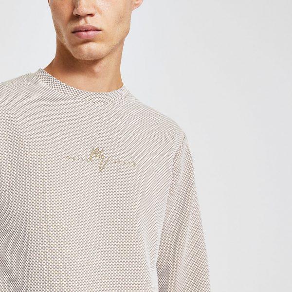 River Island Mens Maison Riviera ecru slim long sleeve T-shirt