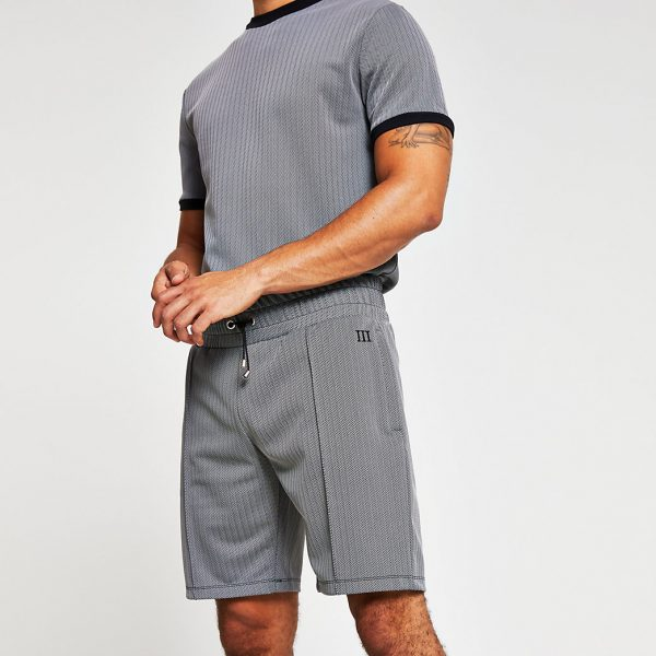 River Island Mens Maison Riviera grey jersey slim fit shorts