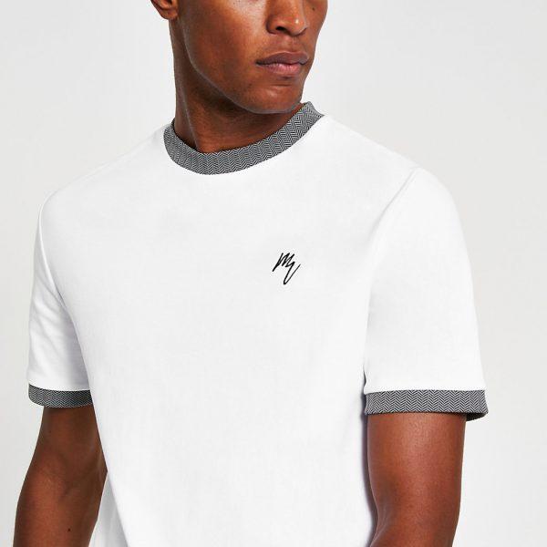 River Island Mens Maison Riviera white slim fit ringer T-shirt