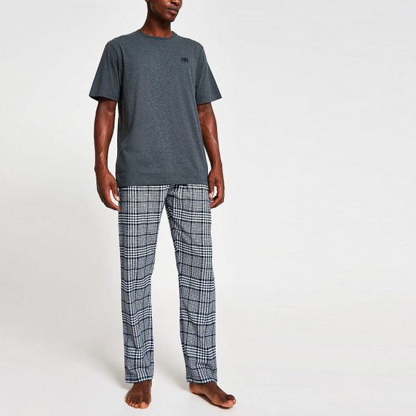 River Island Mens Navy 'RR' check pyjama set