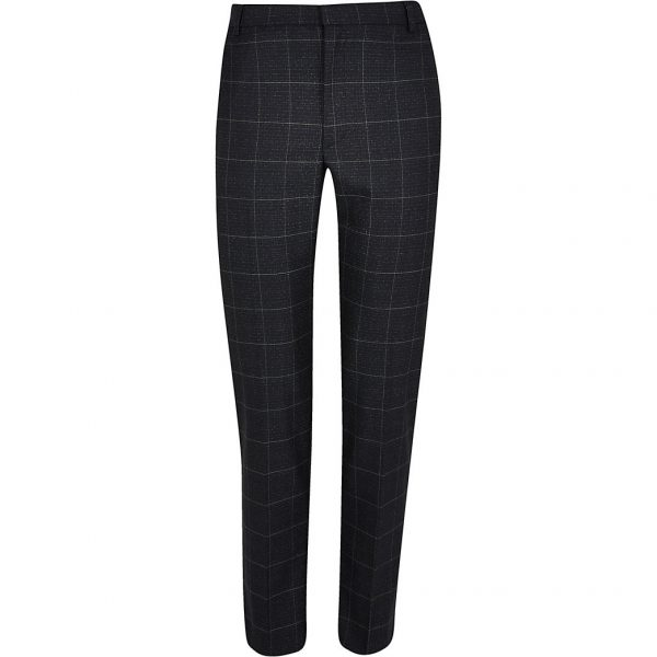 River Island Mens Navy check skinny fit trousers