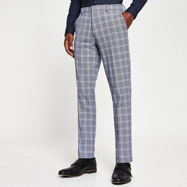 River Island Mens Navy check slim fit trousers