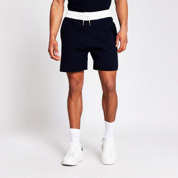 River Island Mens Navy knit elasticated contrast waist shorts