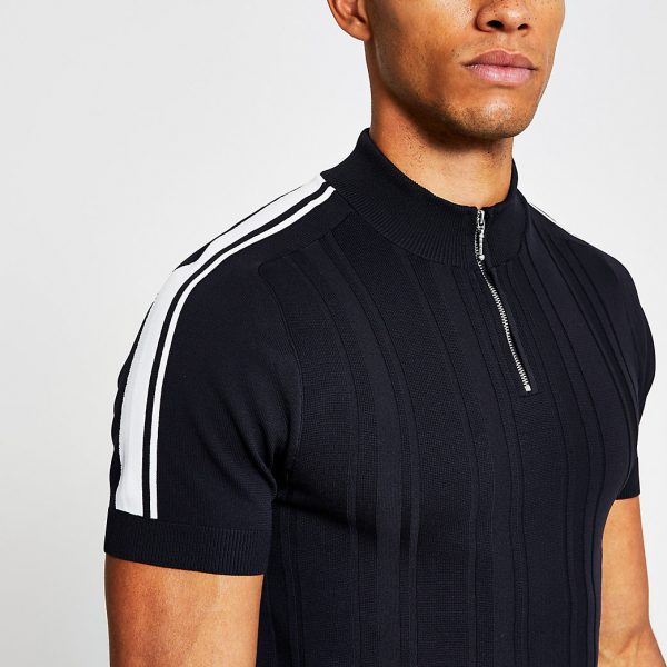 River Island Mens Navy knitted zip neck muscle fit polo shirt