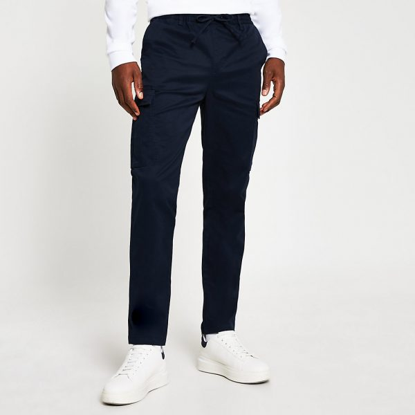 River Island Mens Navy pull on twill skinny fit cargo trousers