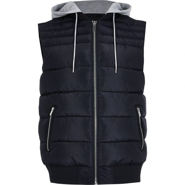 River Island Mens Navy removable hood gilet