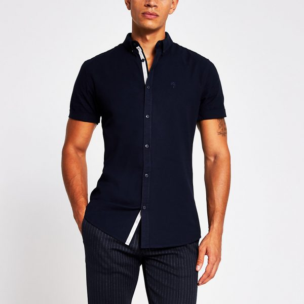 River Island Mens Navy short sleeve muscle fit oxford shirt