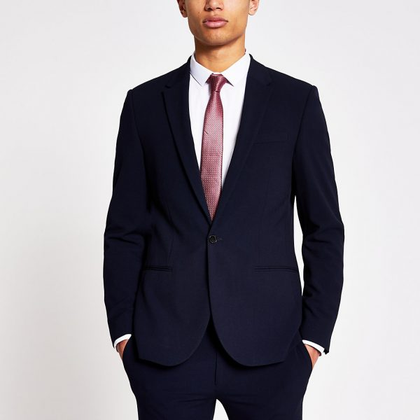 River Island Mens Navy single breasted super skinny suit jacket