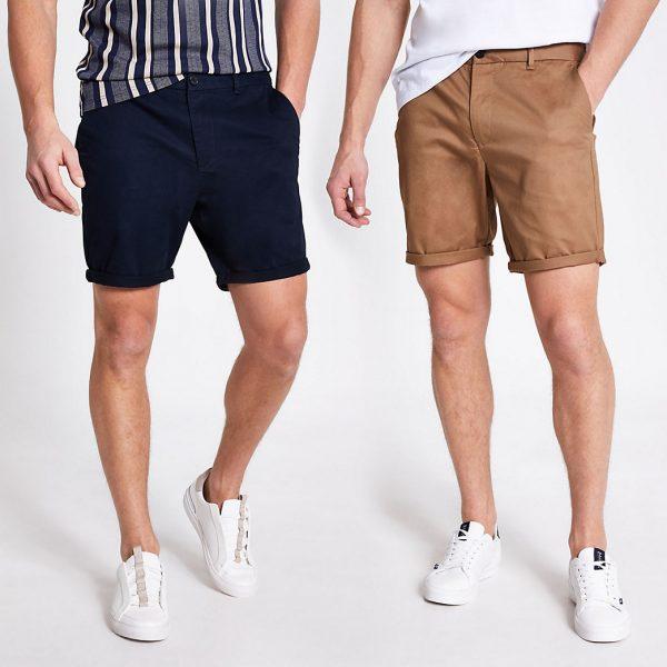 River Island Mens Navy slim fit chino shorts 2 pack