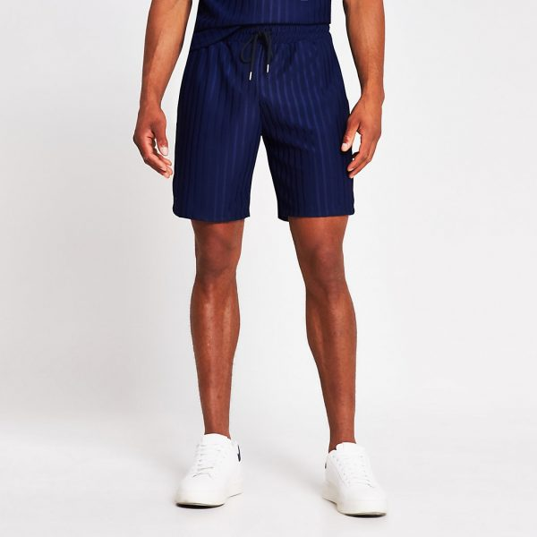River Island Mens Navy slim fit jersey rib shorts
